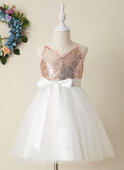 Corte A Coquetel Vestidos de Menina das Flores - Tule/Lantejoulas Sem magas Decote V com Curvado (Faixa destacável)