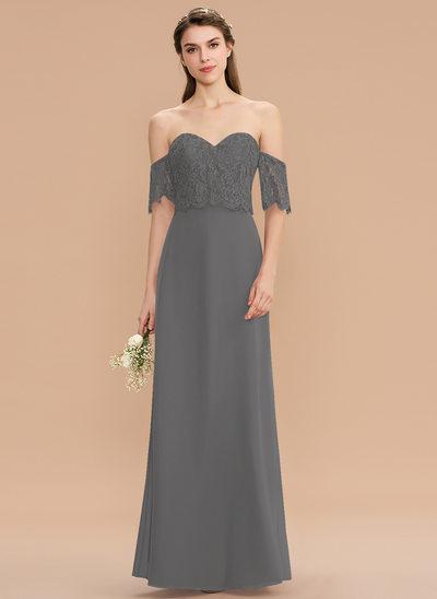 A-Line Sweetheart Floor-Length Chiffon Lace Bridesmaid Dress