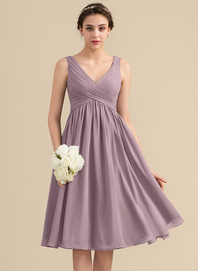 Empire V-neck Knee-Length Chiffon Bridesmaid Dress With Cascading Ruffles