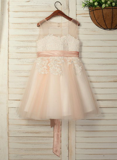 A-Line/Princess Knee-length Flower Girl Dress - Sleeveless Scoop Neck With Sash/Back Hole