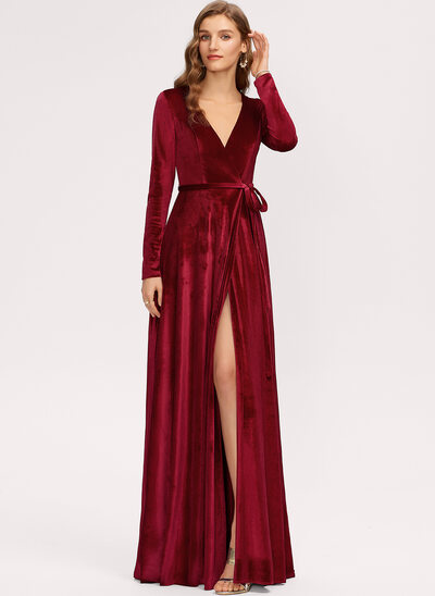 A-Line V-neck Floor-Length Velvet Bridesmaid Dress