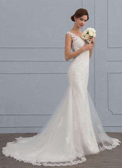 Trompete/Sereia Decote V Cauda de sereia Tule Vestido de noiva