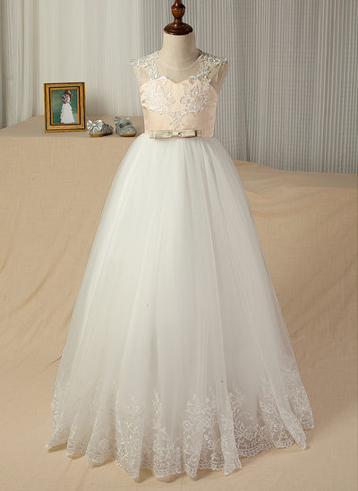 A-Line/Princess Floor-length Flower Girl Dress - Satin/Tulle/Lace Sleeveless Scoop Neck With Appliques/Bow(s)