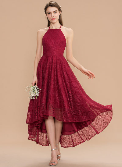 A-Line Scoop Neck Asymmetrical Lace Homecoming Dress With Bow(s)
