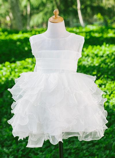 Empire Flower Girl Dress - Satin Sleeveless Scoop Neck