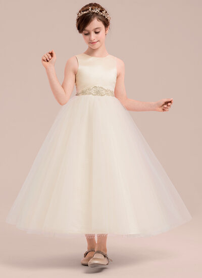 A-Line/Princess Ankle-length Flower Girl Dress - Satin/Tulle Sleeveless Scoop Neck With Beading