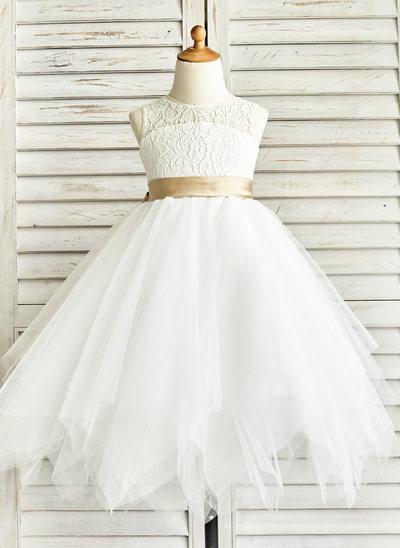 A-Linie/Princess-Linie U-Ausschnitt Wadenlang Tüll Kleid für junge Brautjungfern mit Schleifenbänder/Stoffgürtel