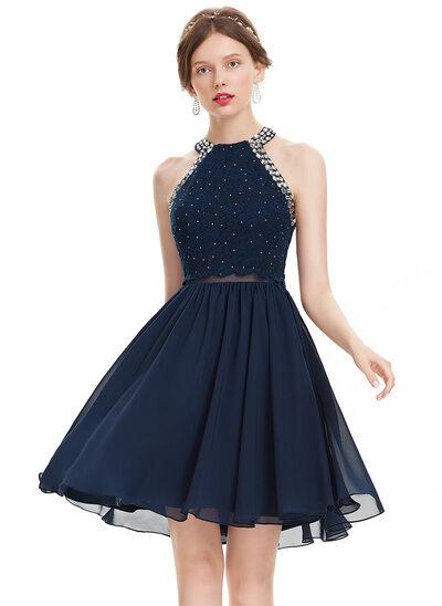 Vestidos princesa/ Formato A Decote redondo Coquetel Tecido de seda Vestido de boas vindas com Beading