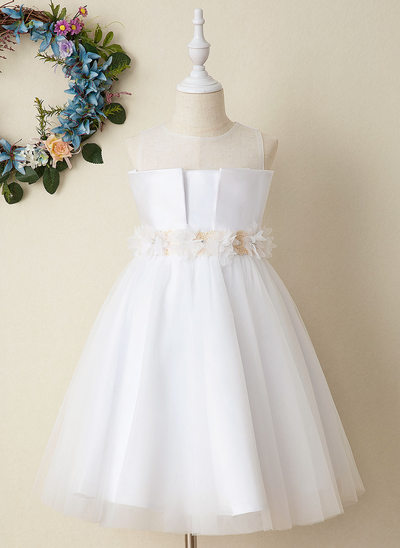 Ball-Gown/Princess Tea-length Flower Girl Dress - Satin Sleeveless Scoop Neck