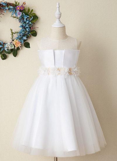 Robe Marquise/Princesse Longueur mollet Robes à Fleurs pour Filles - Satiné Sans manches Col rond