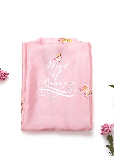 Persoonlijke charmeuse Bruid Bruidsmeisje mam Junior bruidsmeisje Floral gewaden Geborduurde gewaden