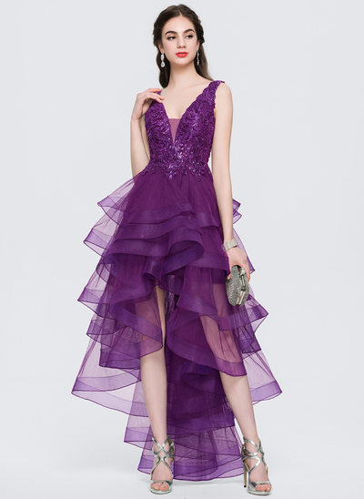 A-Line/Princess V-neck Asymmetrical Tulle Prom Dresses With Lace Sequins