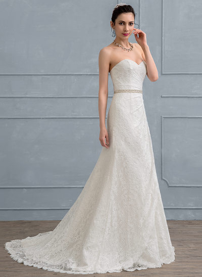A-Line/Princess Sweetheart Court Train Lace Wedding Dress With Ruffle Beading Sequins