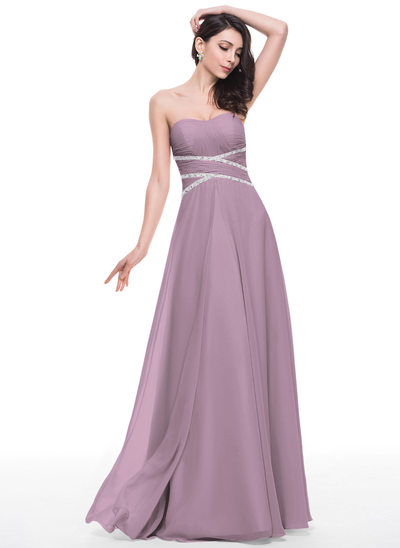 Vestidos princesa/ Formato A Amada Longos Tecido de seda Vestido de baile com Pregueado Beading lantejoulas