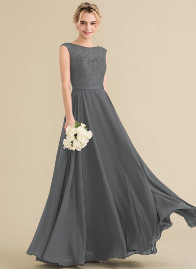 A-Line/Princess Scoop Neck Floor-Length Chiffon Lace Bridesmaid Dress With Bow(s)