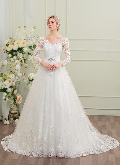 Balklänning V-ringning Court släp Tyll Spets Bröllopsklänning med Beading Paljetter