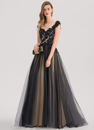 Ball-Gown Sweetheart Floor-Length Tulle Evening Dress