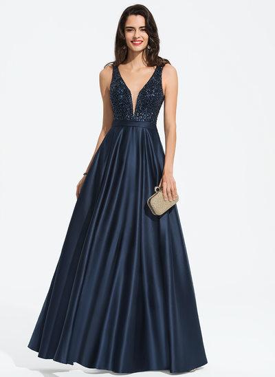 A-Line V-neck Floor-Length Satin Evening Dress With Beading Sequins