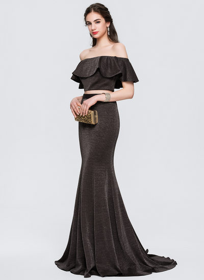 Trumpet/Mermaid Off-the-Shoulder Sweep Train Jersey Prom Dress With Cascading Ruffles