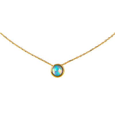 18 Karat vergoldetes Silber Opal Kreis Anhänger Halskette
