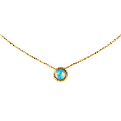 Plata chapada en oro de 18 k Ópalo Circulo Collar colgante
