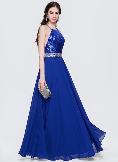 Çan/Prenses Yuvarlak Yaka Uzun Etekli Saten Şifon Mezuniyet Elbisesi Ile boncuklu kısım Payetler