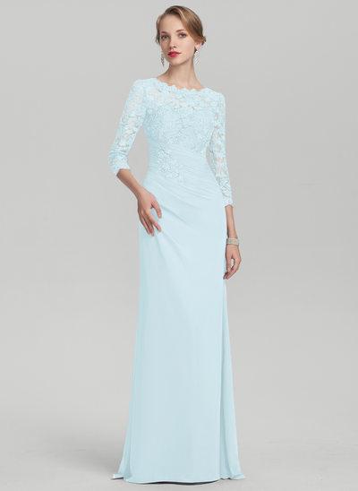 Vestidos princesa/ Formato A Decote redondo Longos Tecido de seda Renda Vestido para a mãe da noiva com Pregueado
