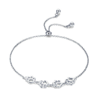 Platinum Plated Link & Chain Bolo Bracelets With Dog Paw Footprint - Valentines Gifts For Her