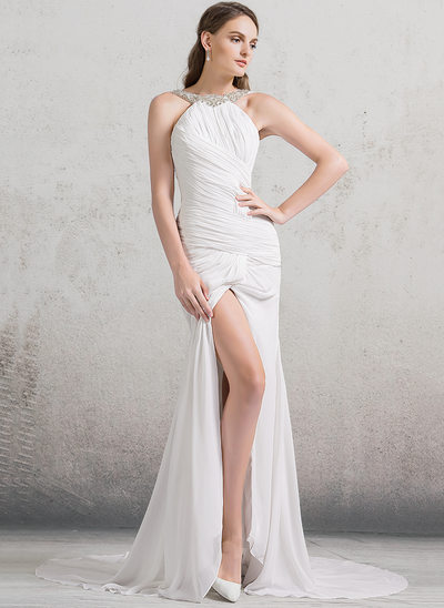 Trumpet/Mermaid Scoop Neck Court Train Chiffon Wedding Dress With Ruffle Beading Split Front