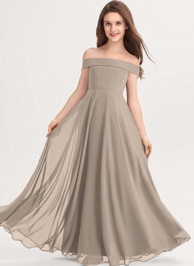Трапеция Выкл-в-плечо Длина до пола шифон Платье Юнных Подружек Невесты