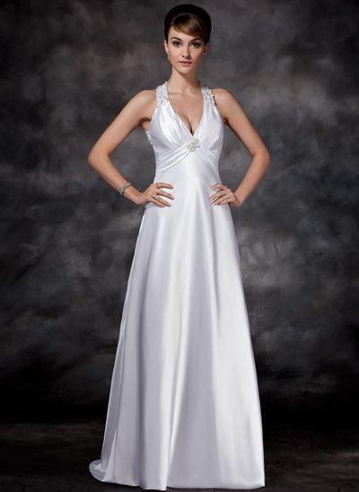 Etui-Linie Träger Sweep/Pinsel zug Charmeuse Brautkleid mit Rüschen Perlen verziert