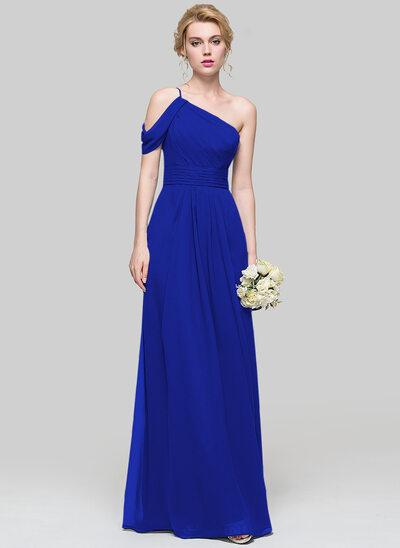 Çan/Prenses Bir omuz Uzun Etekli Şifon Mezuniyet Elbisesi Ile Büzgü