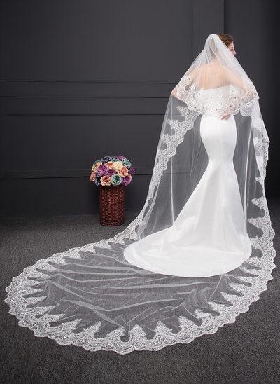 Zweischichtig Spitze Saum Kapelle Braut Schleier mit Lace