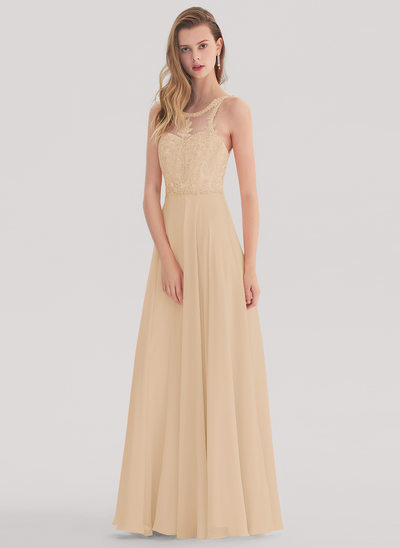 Vestidos princesa/ Formato A Decote redondo Longos Tecido de seda Vestido de baile com Beading