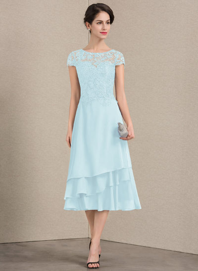 Vestidos princesa/ Formato A Decote redondo Comprimento médio Tecido de seda Renda Vestido para a mãe da noiva