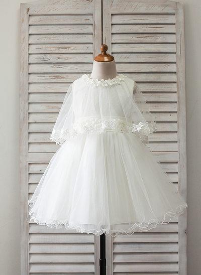 Vestidos princesa/ Formato A Coquetel Vestidos de Menina das Flores - Cetim/Tule Sem magas Decote redondo com Renda/Apliques de Renda