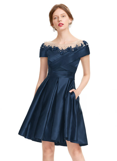 A-Line/Princess Scoop Neck Knee-Length Satin Cocktail Dress With Ruffle Beading Sequins