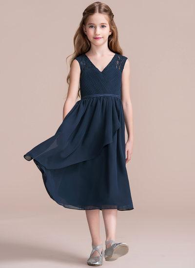 A-Line/Princess V-neck Tea-Length Chiffon Junior Bridesmaid Dress With Cascading Ruffles
