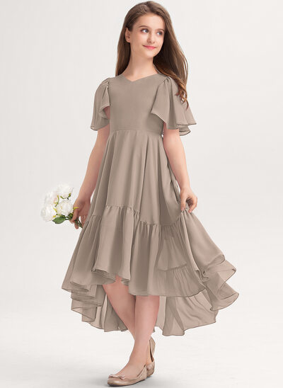 Трапеция V-образный асимметричный шифон Платье Юнных Подружек Невесты с Ниспадающие оборки