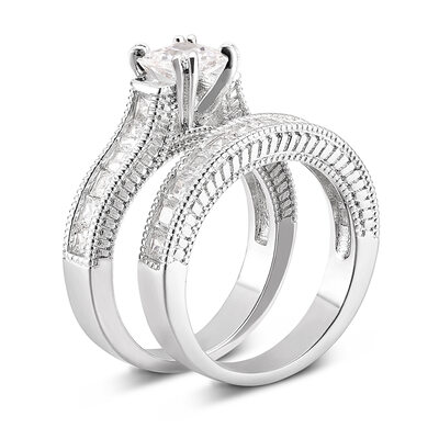 Sterling Silver Cubic Zirconia Dainty Vintage Cushion Cut Bridal Sets -