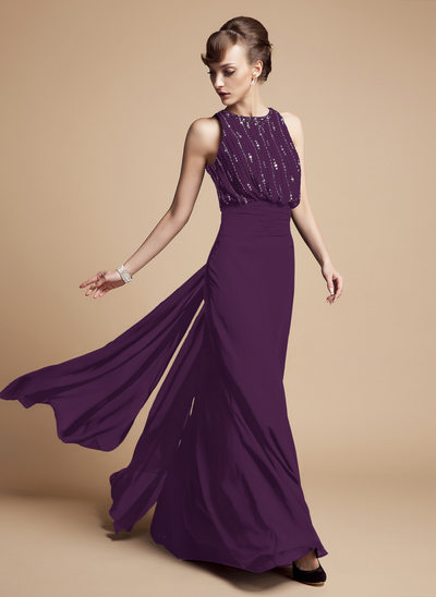 Trumpet/Mermaid Scoop Neck Floor-Length Chiffon Mother of the Bride Dress With Beading