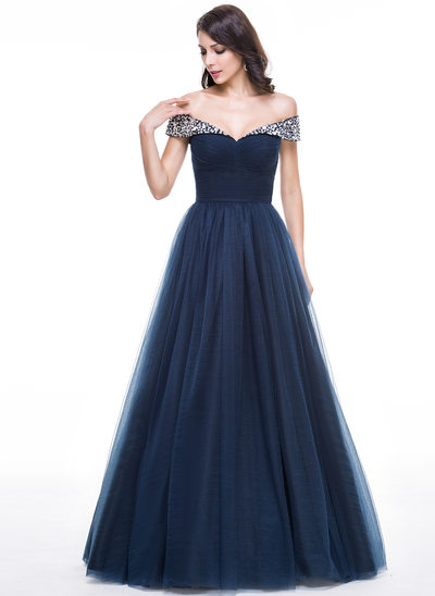 Ball-Gown Off-the-Shoulder Floor-Length Tulle Prom Dress With Ruffle Beading