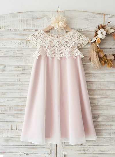 Princesový Po kolena Flower Girl Dress - Šifón/Krajka Bez rukávů Scoop Neck S Krajka