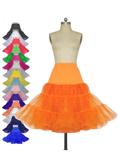 Women Tulle Netting/Lycra Knee-length 3 Tiers Petticoats