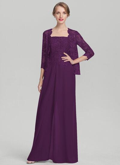 Decote quadrado Longos Tecido de seda Renda Vestido para a mãe da noiva