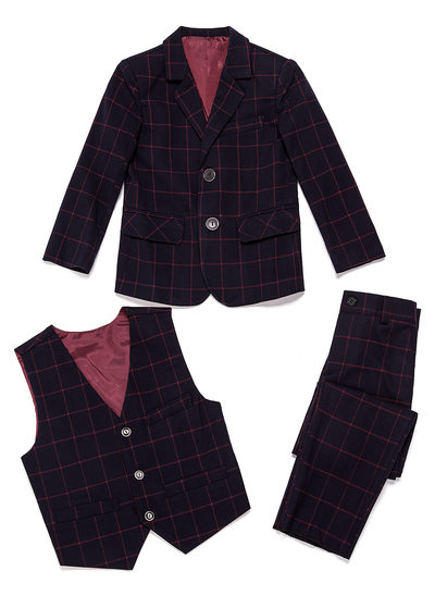 gutter 3 stykker Plaid Suits til ringbærere /Side Boy Suits med Jakke vest Bukser