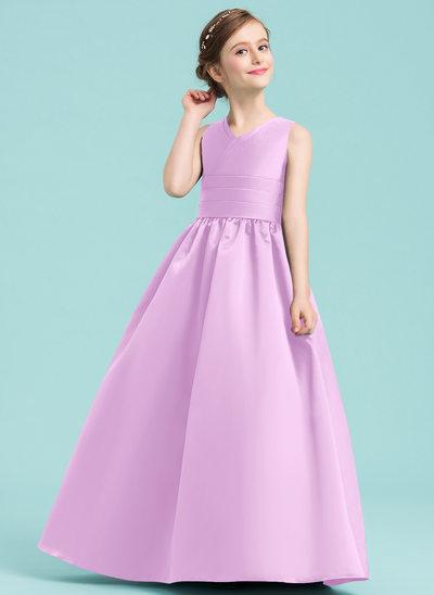 De Baile/Princesa Decote V Longos Cetim Vestido de daminha júnior com Pregueado