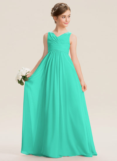 A-Line V-neck Floor-Length Chiffon Junior Bridesmaid Dress With Ruffle Beading Sequins