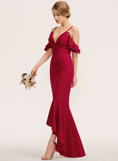 Trumpet/Mermaid V-neck Asymmetrical Stretch Crepe Bridesmaid Dress With Cascading Ruffles