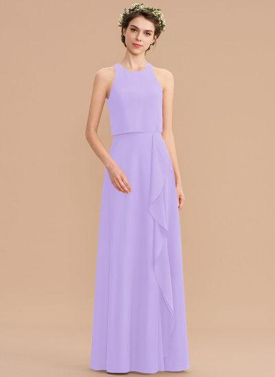 Corte A Decote redondo Longos Tecido de seda Vestido de madrinha com Babados em cascata